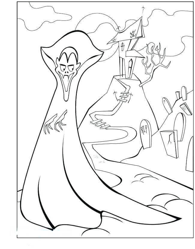 Vampire And Graveyard Coloring Page