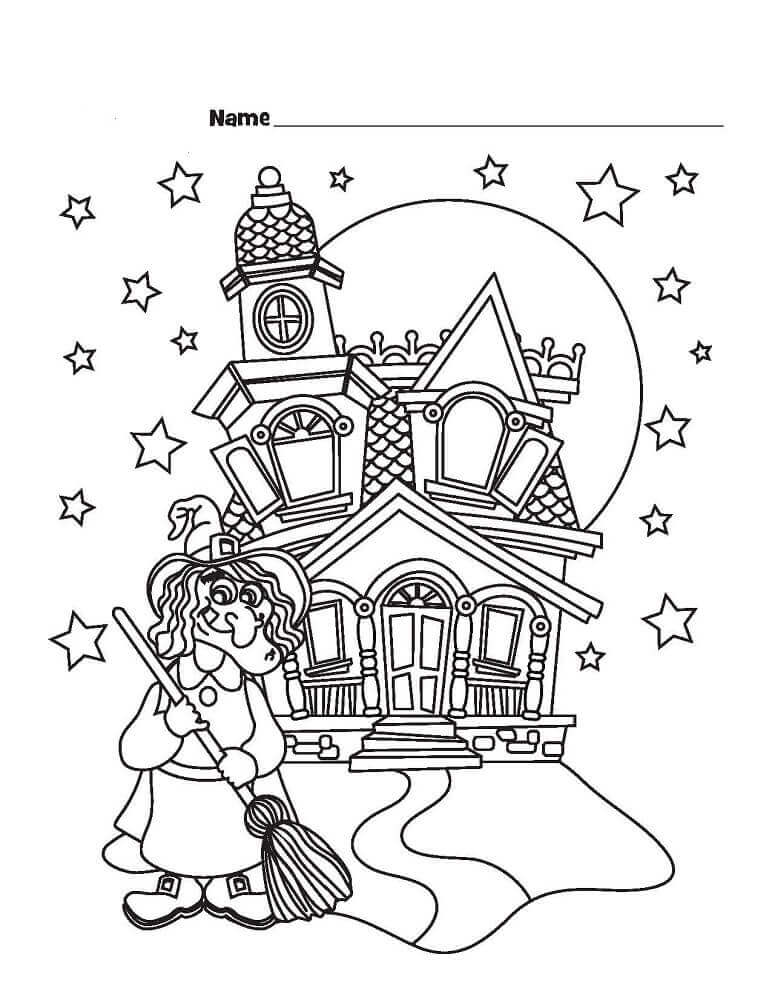 Witch And Haunted House Coloring Sheet To Print