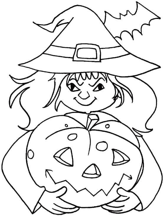 Witch With Jack O Lantern Coloring Page