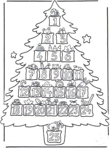 Advent Christmas Tree Coloring Page
