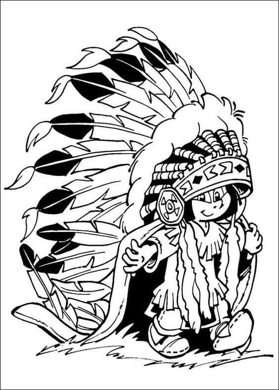 American Indian Child Coloring Page