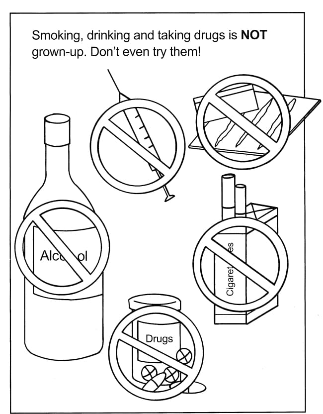 Anti Drug Coloring Pages For Kids