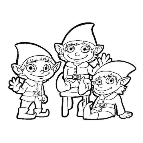 Christmas Elves Coloring Pages - Get Coloring Pages | 500x500