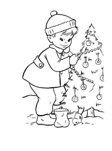 Christmas Tree And Branches Coloring Pages