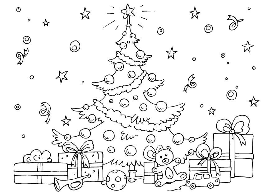 Christmas Tree And Gifts Coloring Page
