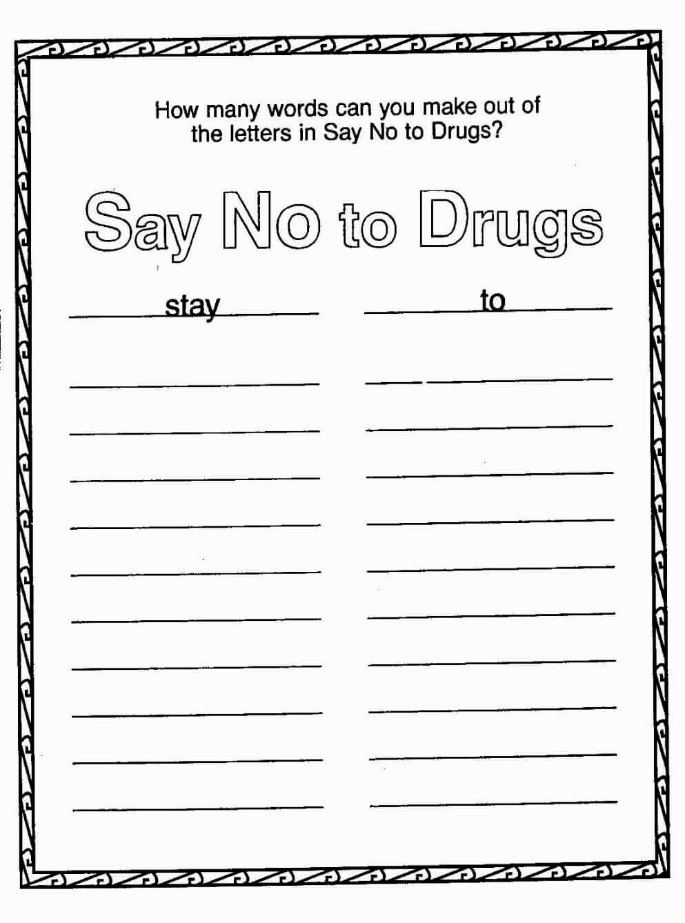 Drug Awareness Coloring Sheets