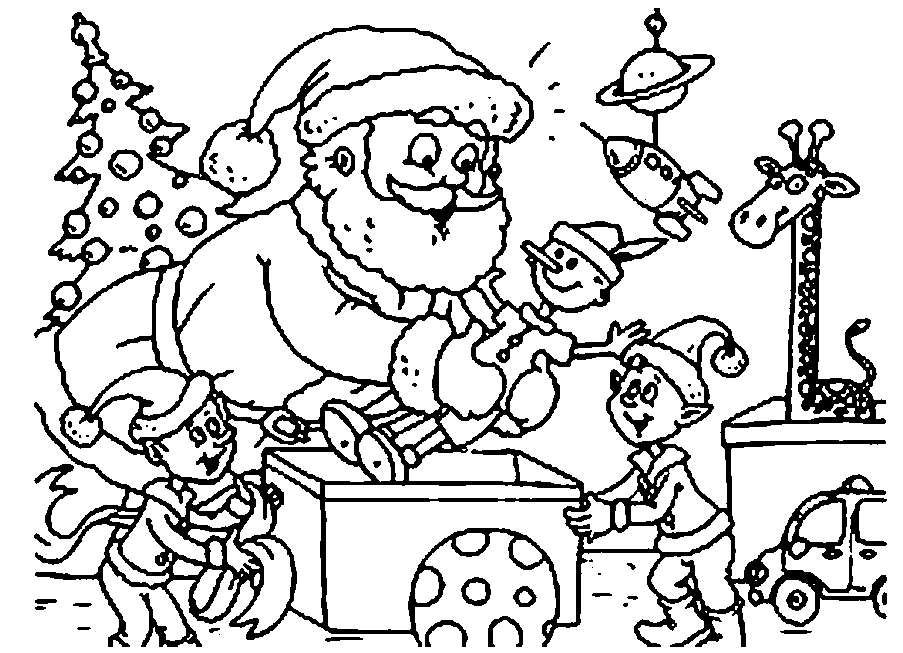 Elf Helping Santa Coloring Page