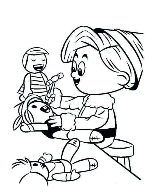 Elf Making Toy Coloring Page