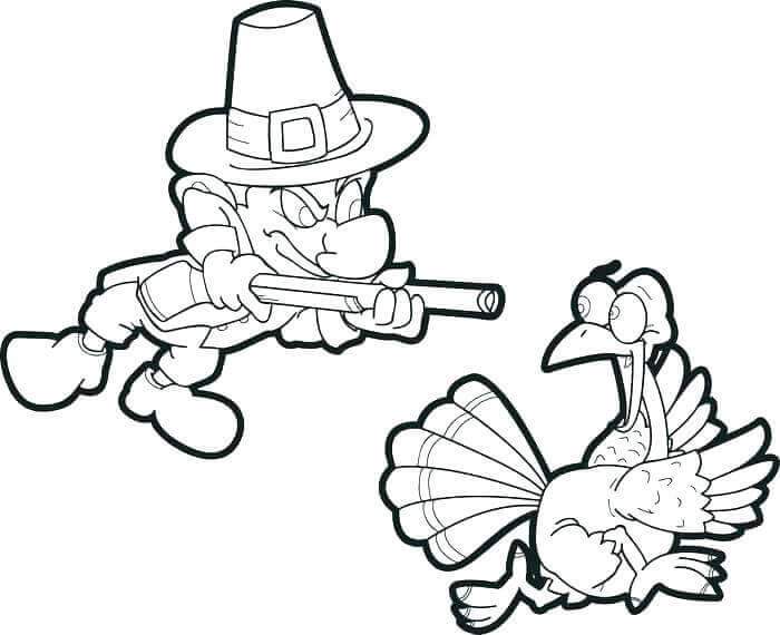Funny Thanksgiving Pilgrim Coloring Page