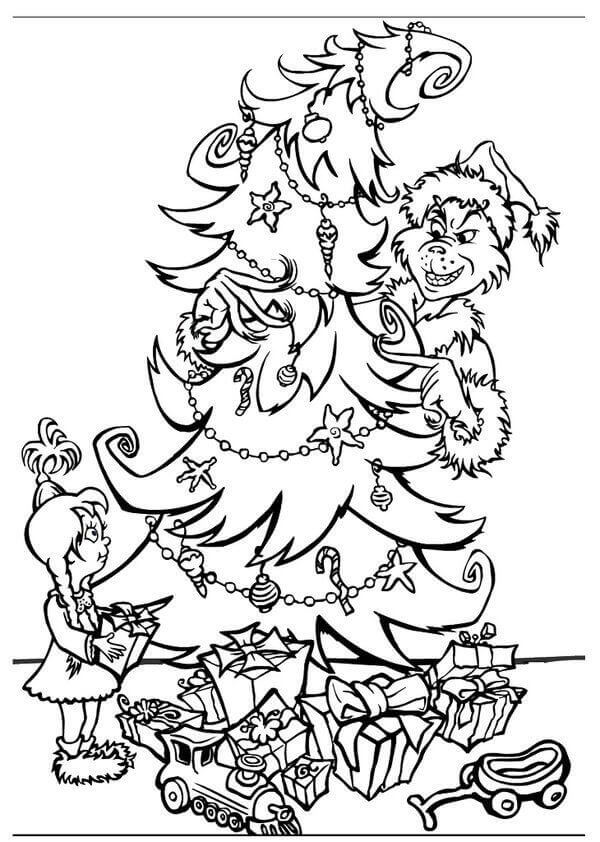 Grinch And The Christmas Tree Coloring Picture