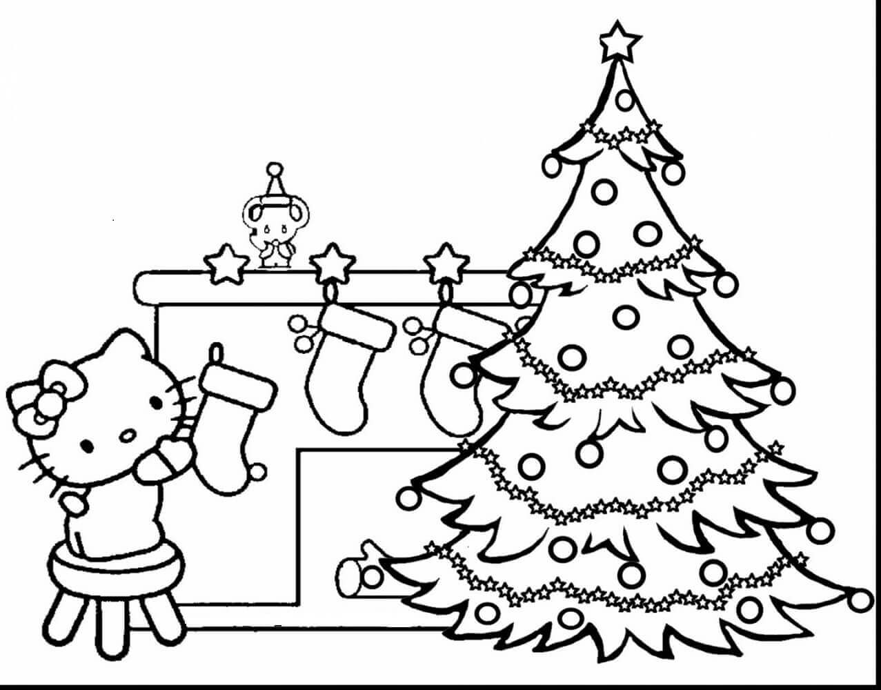 Hello Kitty And Christmas Tree Coloring Sheet