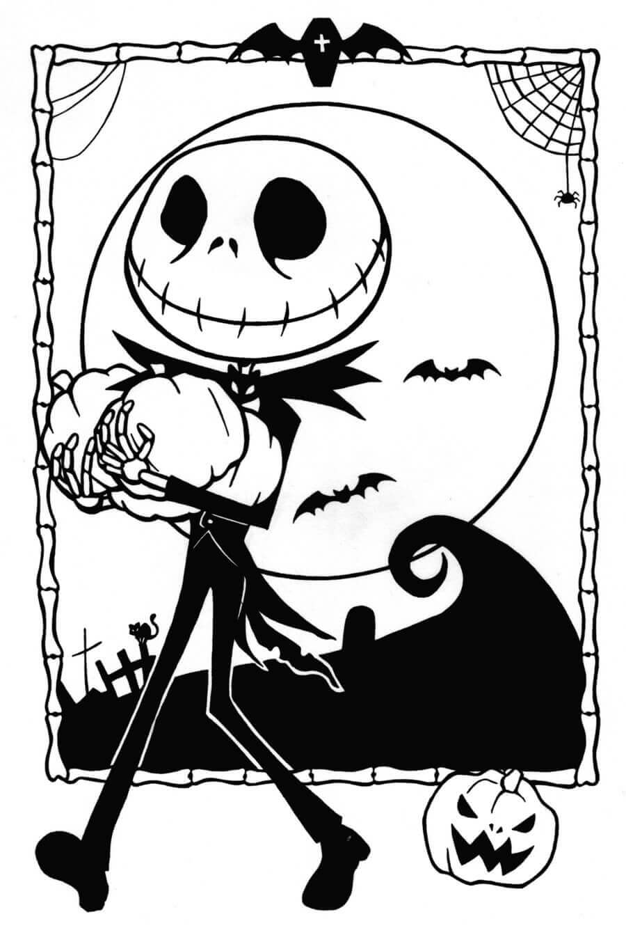 Jack Skellington From Nightmare Before Christmas Coloring Pages