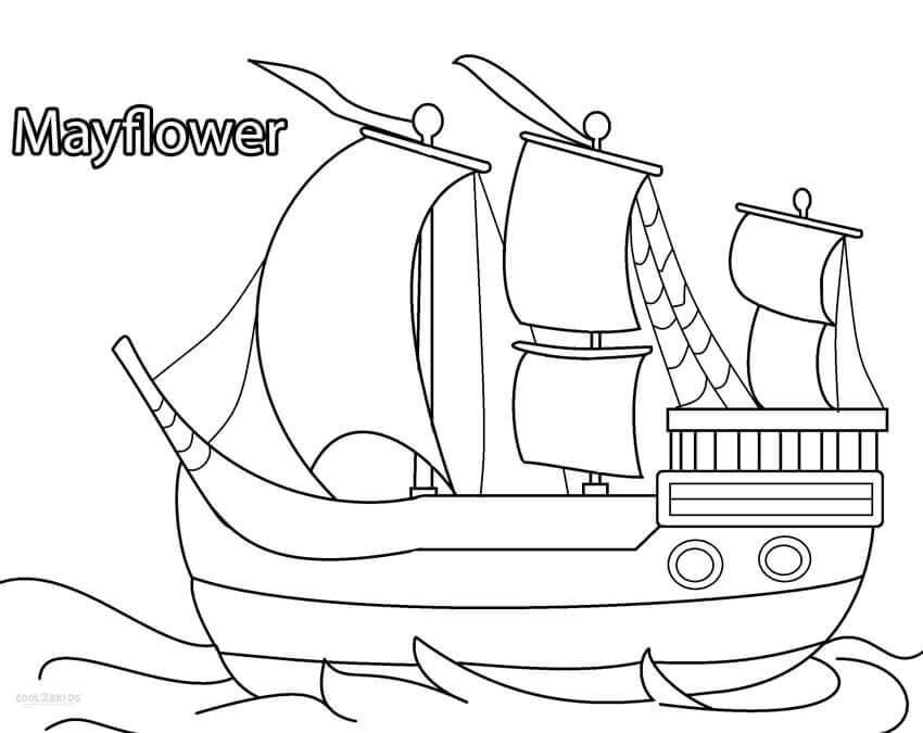 Mayflower Pilgrim Ship Coloring Page
