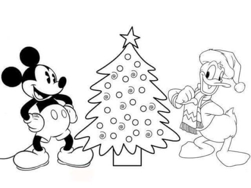 Mickey Christmas Tree Colouring Images