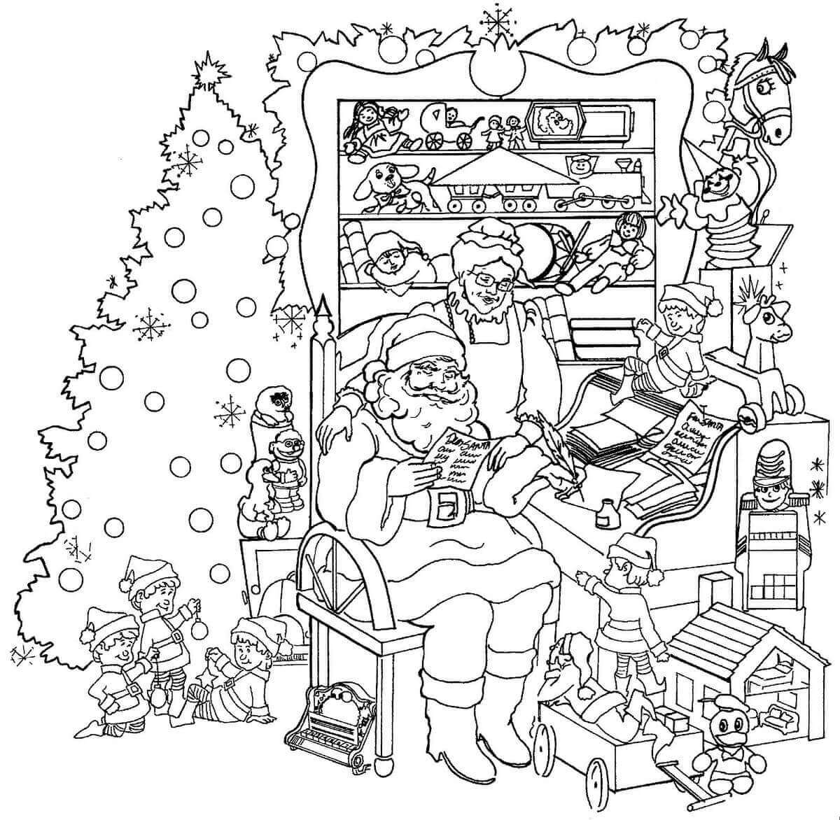 Mrs And Mrs Claus With Christmas Tree Coloring Sheet