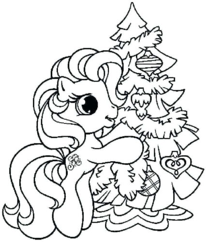 My Little Pony Christmas Tree Coloring Page