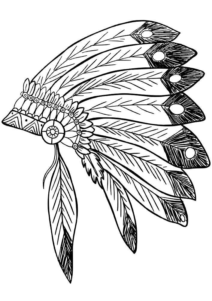 Native American Feather Headdress Coloring Page
