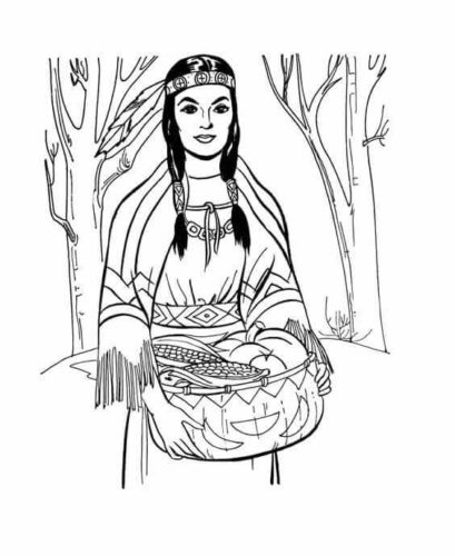Native American Woman Coloring Page