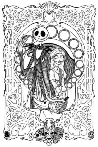 Nightmare Before Christmas Coloring Pages Printable Jack And Sally