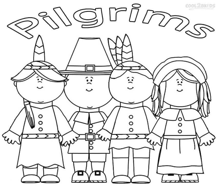 Pilgrim Kids Coloring Pages