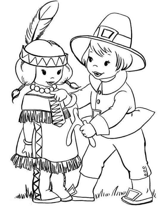 Pilgrims And Native Americans Coloring Pages