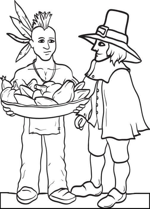 Pilgrims Coloring Images