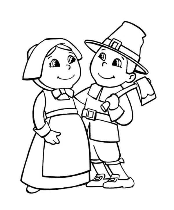 Pilgrims Coloring Pages For Kids