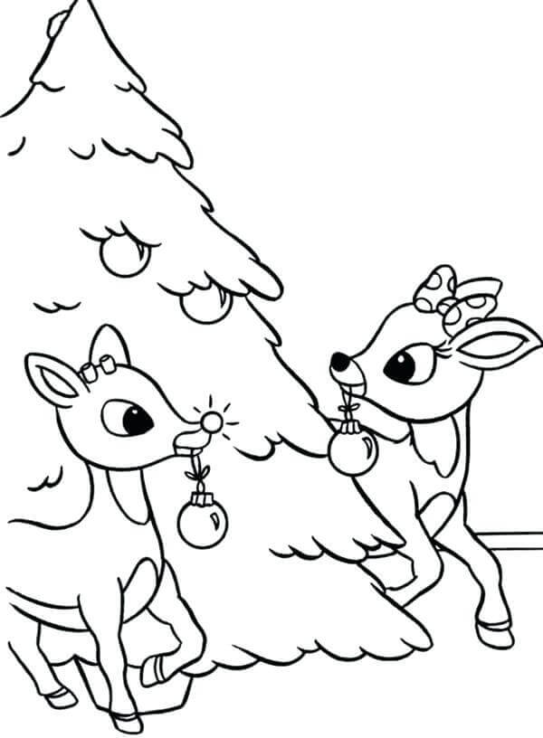 Reindeer And Christmas Tree Coloring Image