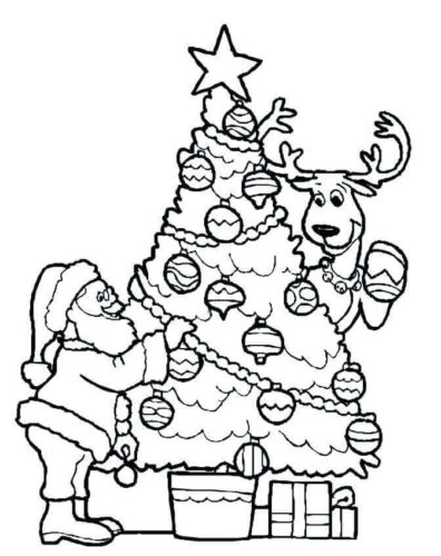 Santa And Christmas Tree Coloring Pages