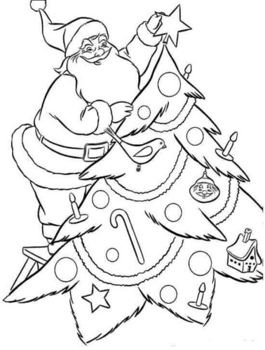 Santa Decorating Christmas Tree Coloring Printable
