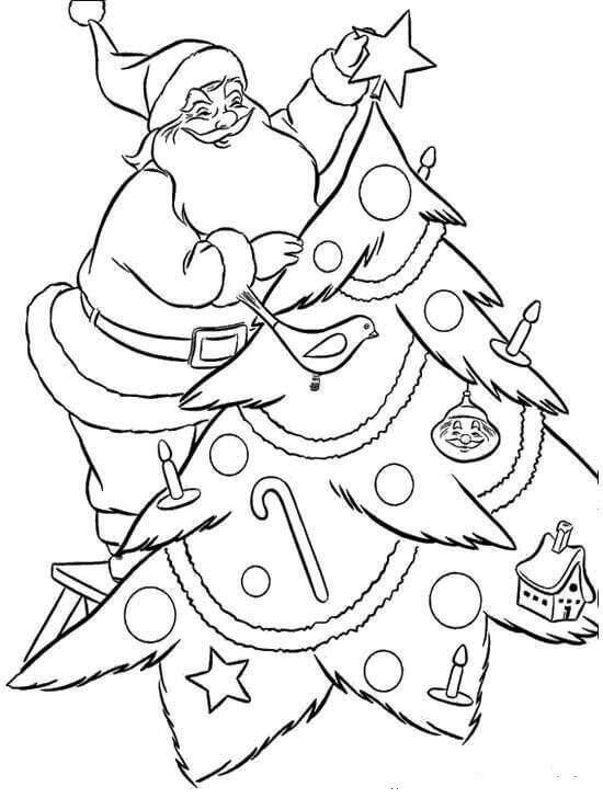 Santa Decorating Christmas Tree Coloring Printable