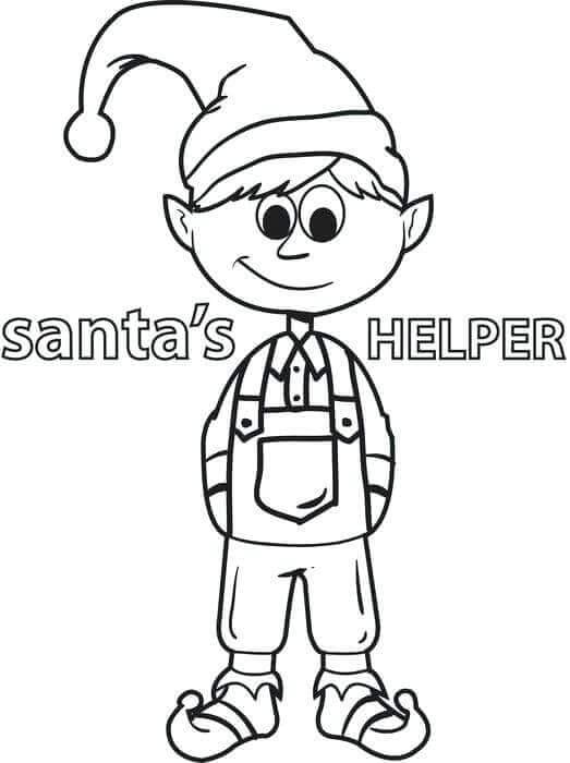 Santas Helper Elf Coloring Page
