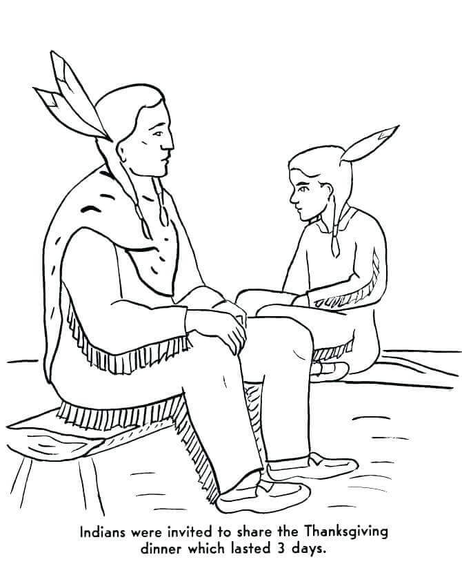 Thanksgiving Pilgrims And Indians Coloring Sheet