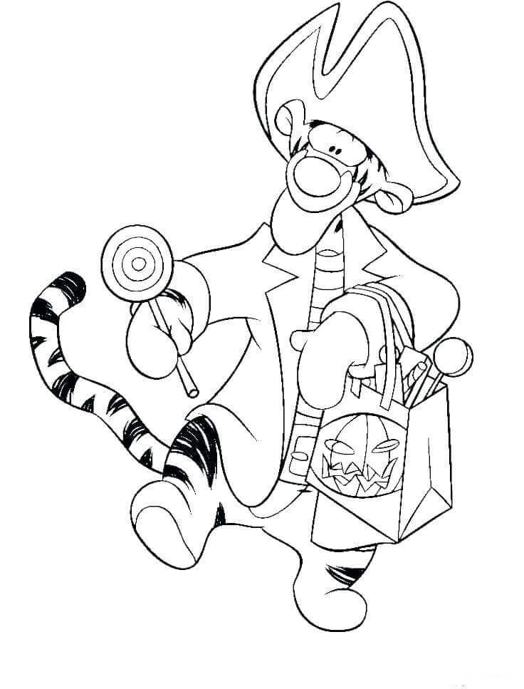 Tigger Trick Or Treat Coloring Pages