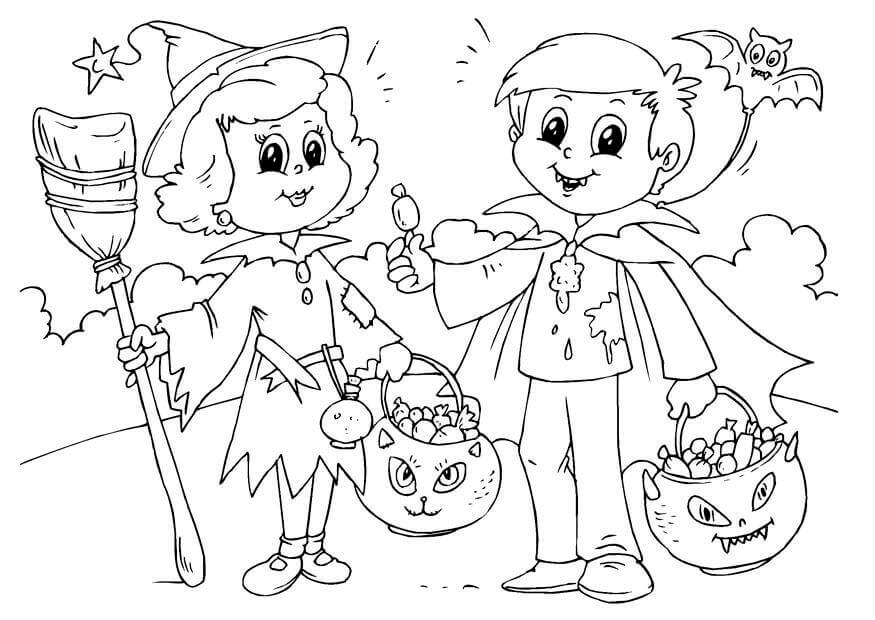 Trick Or Treat Coloring Pages Free
