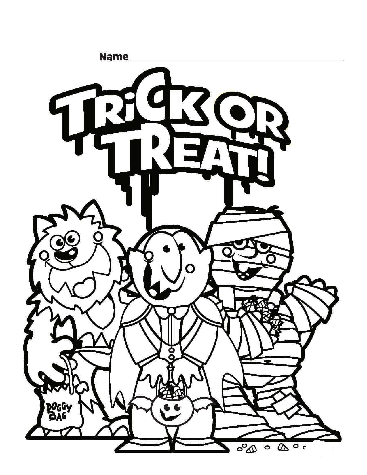 Trick Or Treat Coloring Sheets Printable