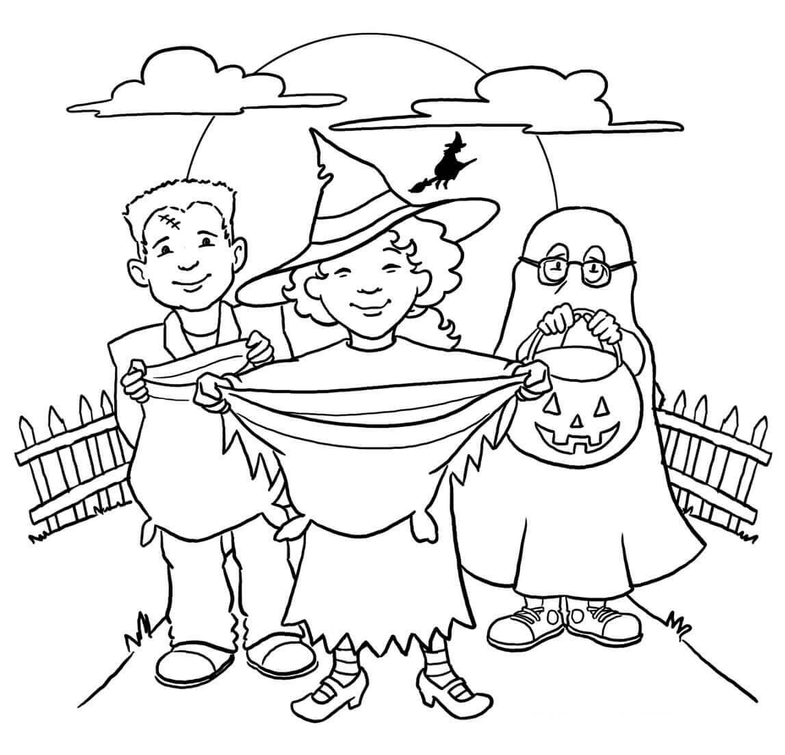 Trick Or Treating Coloring Pages