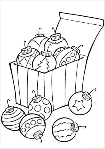 A Box Of Christmas Ornaments Coloring Page