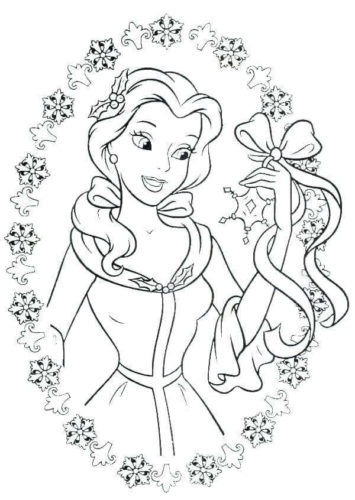 Belle Surrounded With Snowflakes Coloring Page
