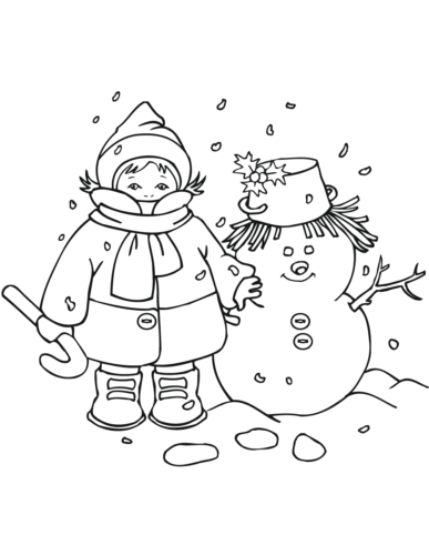 Boy And Snowman Coloring Sheet