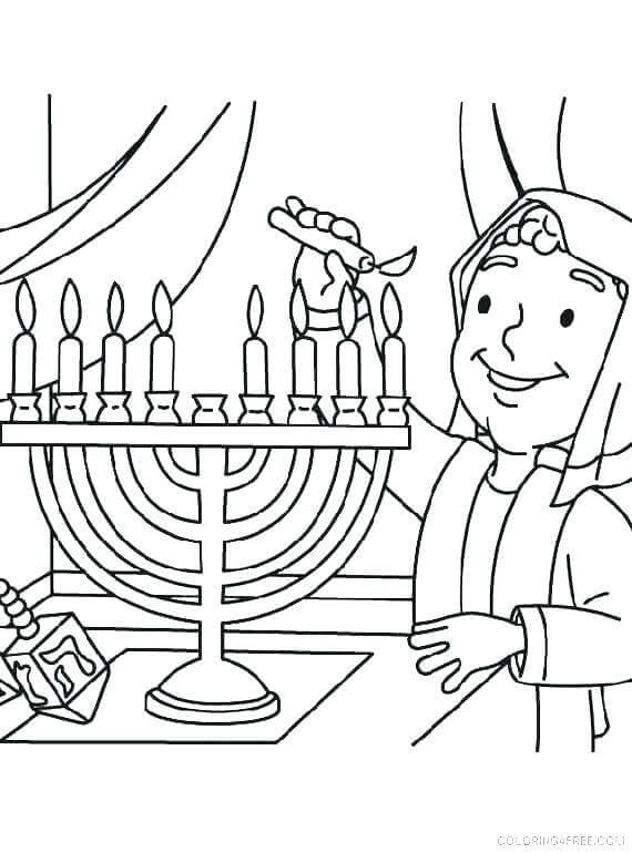 Boy Lightning Menorah Coloring Page