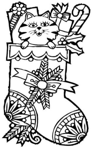 Cat In Stocking Coloring Picture To Print