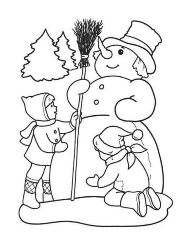Children Making Snowman Coloring Page