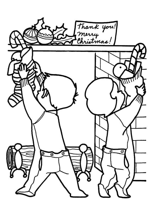 Children With Christmas Stockings Coloring Page