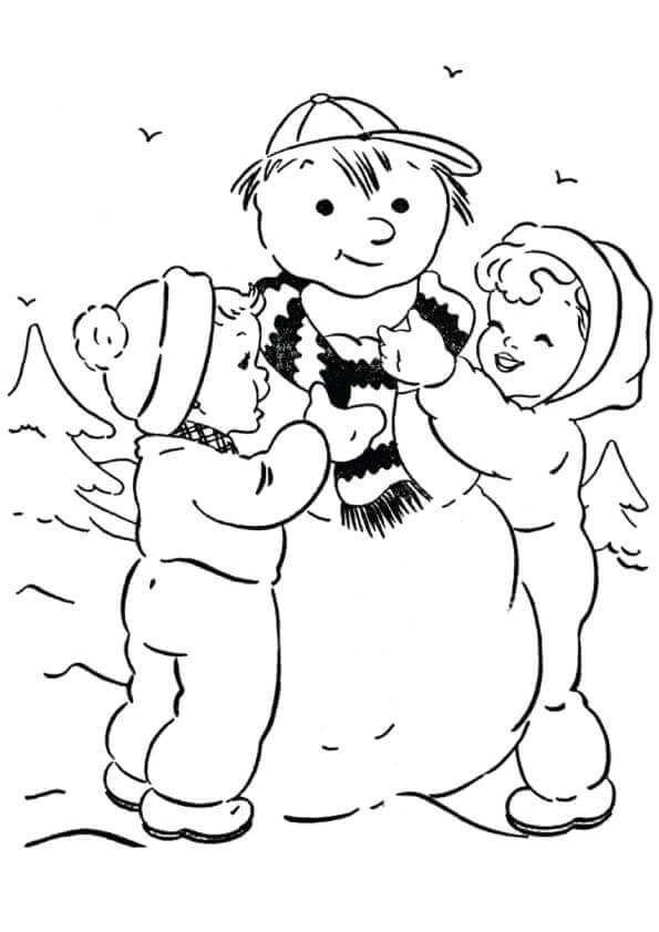 Children With Snowman Coloring Page