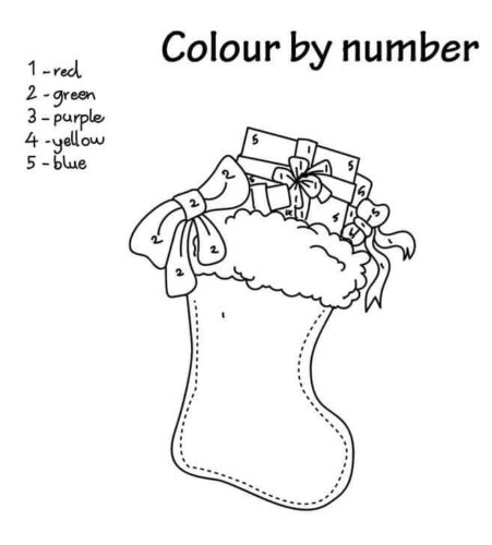 Christma Stockings Color By Number Printable