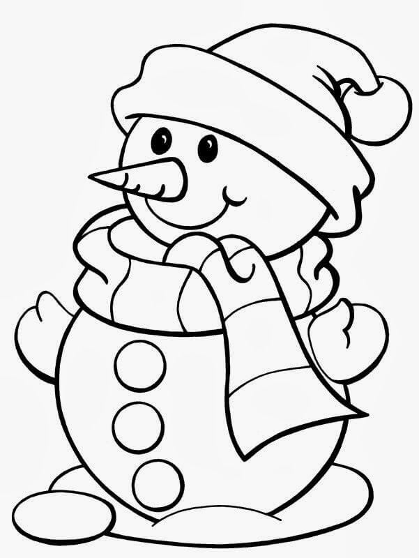 Christmas Coloring Pages For Preschoolers Snowman