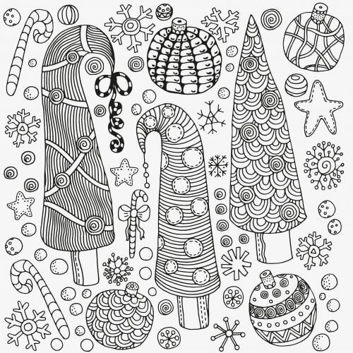 Christmas Ornaments Coloring Page For Adults