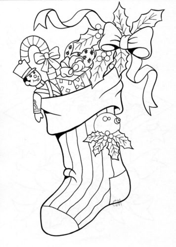 Christmas Stocking Coloring Pages Free