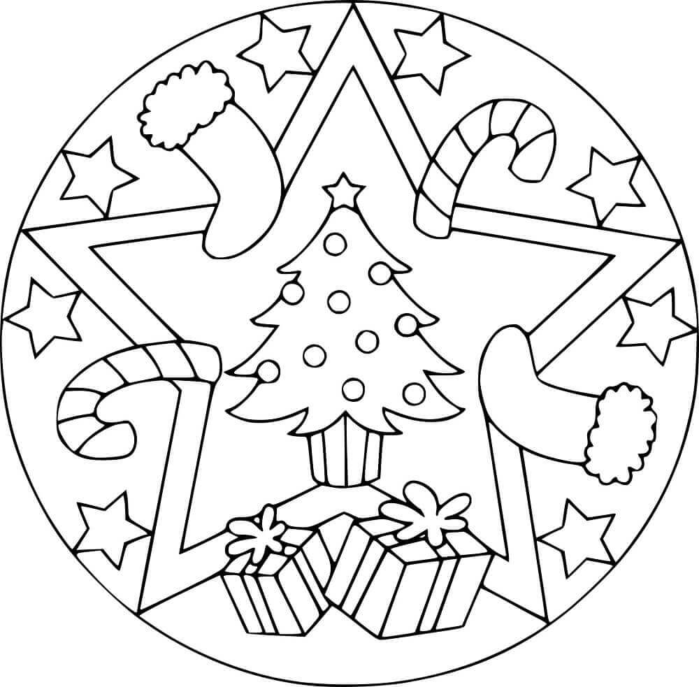 Christmas Stocking Mandala Coloring Page